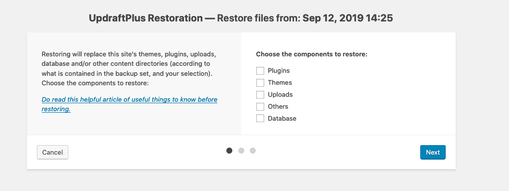 UpdraftPlus release 1.16.17 update: Featuring in-page restore resumptions
